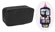 Waterproof Travel Makeup Cosmetic Organiser Bag Portable Folding Large Toiletry Hanging Wash Bag With Hook for 2 Persons, Black
