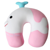 Dolphineshow 12.5x 4.18cm x 32cm Sea Lion Shape Plush and Microbeads Kids Travel Pillow U Cushion,pink and White