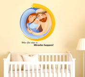 Orange and orchid when God Steps In Miracle Happens! Wall Sticker