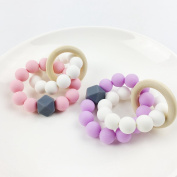 Silicone Baby Teether Chewable Beads Nattural Safe Toy Mom Bracelet Ecofriendly Silicone Nursing Bracelet Baby Teether
