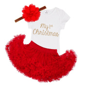 YIZYIF Newborn Babies My First Christmas Santa Outfits Tutu Princess Romper Maching with Headband 3-24 Months