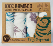 Tiny Chipmunk 100% Bamboo Premium Muslin Swaddle, Extra Large (120cm x 120cm), 4 pack gift box