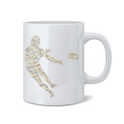 Feel Good Art Ceramic Mug in Modern Typographic Rugby Player Design