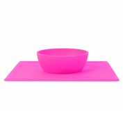 Non Slip Silicone Placemat for Babies and Children, Dishwasher Safe Feeding Bowl - BPA and Toxin Free PINK