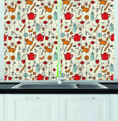 Ambesonne Kitchen Decor Collection, Cats Tea and Sweets Coffee Morning Muffins Milk Bread Home Cafe Cartoon Doodle Art, Window Treatments for Kitchen Curtains 2 Panels, 140cm X 100cm , Red Cream Orange