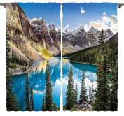 Ambesonne Scenery Art Decor Collection, Beautiful Sunset View Of Morain Lake And Mountain Range Alberta Canada Landscape, Living Room Bedroom Curtain 2 Panels Set, 270cm X 230cm , Colourful Multi