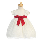 Lito Ivory Organza Burnout Red Bow Toddler Girl Christmas Dress 12M-4T