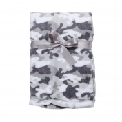 Baby Gear Plush Velboa Ultra Soft Baby Boys Blanket 30 x 40 Grey Camo