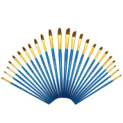Paint Brushes Set - 24 PCS - Nylon Bristles with Plane Wooden Long Handle, Professional Artist Painting Supplies, Suitable for Watercaolor, Oil, Acrylic Painting