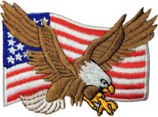 Bald Eagle with American Flag Embroidered Iron Sew On Patch by Ranger Return