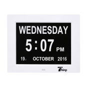 Thinp Digital Dual Alarm Clock -Desk/Shelf Memory Loss Day Clock Digital Calendar - Extra Large Non-Abbreviated Day & Month - Excellent for Impaired Vision