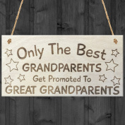 Red Ocean Only The Best Grandparents Get Promoted To Great Grandparents Lovely Hanging Wooden Plaque Sign