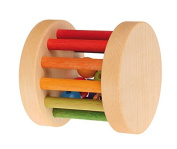 Grimm's Shake, Rattle & Roll Baby Toy - Mini Wooden Rainbow Rolling Wheel
