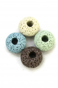 15mm Multi-Coloured Disc Replacement Lava Stone Beads for Essential Oil Diffuser Pendant Necklace- Set of 4