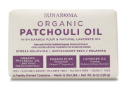 Sunaroma Organic Patchouli Oil Soap (240ml) - Natural Soap Boosts Mood and Reduces Inflammation - Kakadu Plum and Lavender Revive Skin and Ease Sore Muscles - Paraben and Sulphate Free, Made in the USA
