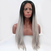 Long Ombre Synthetic Lace Front Wig Straight Grey Wig Dark Roots Heat Resistant Fibre Hair