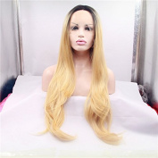 Xiweiya ombre blonde synthetic wigs dark root lace front body wave hair wigs heat resistant fibre wig 60cm