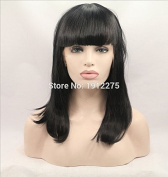 Xiweiya black straight hair wig with bangs synthetic lace front wig heat resistant fibre 1b straight wig