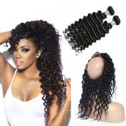 Grace Plus Deep Wave Hair 3 Bundles Plus 360 Lace Frontal Closure Brazilian Virgin Hair Full Frontal Lace Closure With Baby Hair 360 Frontal