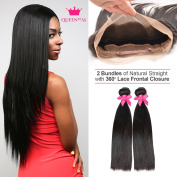 Queen By Ali 6A Brazilian Virgin Human Hair Weave 2 Bundles + 360 Lace Frontal Closure Natural Straight with Natural Hairline & Adjustable Strap & Combs (Natural)