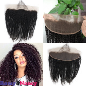 Rossy & Nancy 10A Brazilian Virgin Remy Human Hair 33cm x 10cm Afro Kinky Curly Lace Frontal Closure Free Part Naturak Black Colour with Baby Hair Bleached Knots for American Black Women 20cm - 60cm