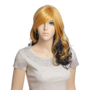 Fashion Female Synthetic Hair Yellow and Black Long Curly Wig D2109