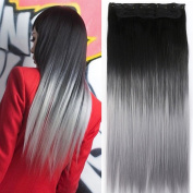 Neverland Beauty 60cm Synthetic Straight Two Tone Ombre Hairpiece Hair Extensions 3/4 Full Head Clip Black to Silver Grey