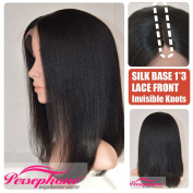Best Regular Yaki Short Bob 7.6cm Invisible Deep Middle Parting Silk Top Human Hair Wig For Black Women Brazilian Remy Hair Silk Base Lace Front Wigs 150% Density 36cm off Black #1B