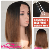 Persephone Natural Looking Light Yaki Persephone Short Bob 7.6cm Invisible Deep Right Parting Silk Top Lace Wig Ombre Brown Black Roots Brazilian Remy 100% Human Hair Wigs for Women 150% 36cm