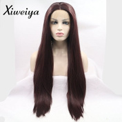 Xiweiya red-brown brownish red synthetic lace front wig mermaid long wavy hair replacement wig for women half hand tied gluless wig