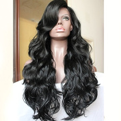 PlatinumHair Black Natural Body Wave Synthetic Lace Front Wigs Heavy Density Glueless for Women Synthetic Hair Wigs 50cm - 70cm