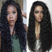 PlatinumHair Black Loose Curly Wave Synthetic Lace Front Wigs Heavy Density Glueless for Women Synthetic Wigs 50cm - 70cm