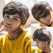 Synthetic Short Wigs with Mix Colour Brown with Blonde Full Wigs with Side Bangs Short Straight Wig