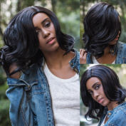 AISI HAIR Jet Black Synthetic Short Curly Wave Wigs Shoulder Length Full wig with Free Part Wavy Wig for Women
