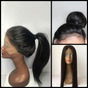 Brazilian Virgin Hair Black Lace Front Long Straight Middle Parting Human Hair Black Women Wigs