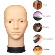 Head Model, Hatop Mannequin Flat Head Practise Make Up Massage Training Model Eyelash Extensions