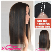 Persephone Natural Looking Black with Highlights Honey Blonde 2.5cm x 10cm Invisible Deep Parting Silk Top Lace wigs For Women Yaki Straight Brazilian Remy Human Hair Wig 150% Density 41cm