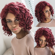 Short Curly Wigs Red Colour Synthetic Full wig for Woman African American Wigs Heat Resistant Fibre