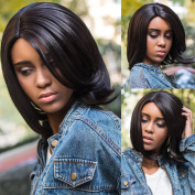 Sythetic Short Straight Bob Wigs Black Colour for Women Heat Resistant Synthetic None Lace Wig + Free Wig Cap