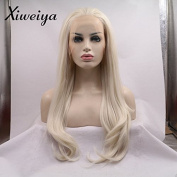 Xiweiya light blonde nature wave synthetic lace front wig mermaid long wavy hair replacement wig for women half hand tied gluless wig