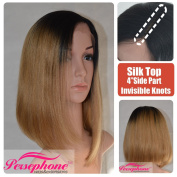 Persephone Dark Roots Ombre Blonde 2.5cm x 10cm Invisible Deep Parting Silk Top Bob Wigs for Black Women Best Kinky Straight Brazilian Remy Silk Base Front Lace Human Hair Wig 150% Density 41cm
