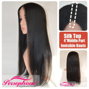 Persephone Best Yaki Straight 2.5cm x 10cm Silk Top Lace Front Human Hair Wigs For Black Women Brazilian Remy Hair Wig with Invisible Middle Deep Parting 150% Density 46cm #1B