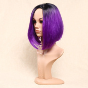 Secretgirl Fashion Women's Short Straight Wig Side Part Ombre Black to Purple Wigs New Hairstyles