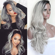PlatinumHair Grey and Black Roots Ombre Body Wave Synthetic Lace Front Wigs Glueless Heavy Density Natural for Women Synthetic Wigs 60cm - 70cm