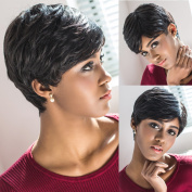 Short Hair Wigs For Black Women Black and Short Straight Synthetic Wigs Perruque Synthetic Women wigs with Bangs WS614