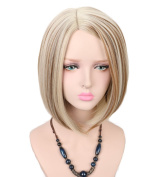 Yuehong Medium Wig Women's Cute Fringe Straight Bob Cosplay Wig