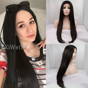 Xiweiya Heat Resistant Fibre black colour Long Natural Straight Black Synthetic middle part Lace Front wigs for Black Women 60cm