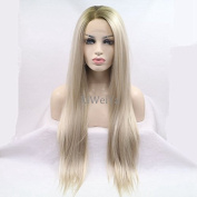 Xiweiya Handmade Straight Ombre brown blonde Synthetic Lace Front Wig 2 Tones Heat Resistant Hair Wigs for White Women Long Natural Mixed Blonde Wigs