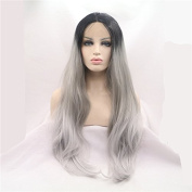 Xiweiya Short Black Roots Ombre Grey 3 Tones Synthetic Lace Front Wig Long Natural Straight Silver Grey To White Heat Resistant Hair Wigs