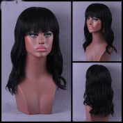100% Real Hair Black Slightly Curled Long Neat Bang Shaggy Human Hair Wig for Women